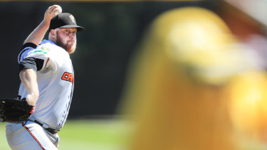 Cavalry pitcher Frank Gailey had a tough outing in game three against the Bandits on Saturday.