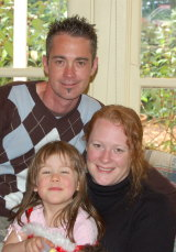Ms Harris-Brady in 2006 with first husband Adam and their daughter, Keeley.