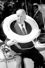 Alfred Hitchcock on a motor cruiser at Bobbin head in Sydney on May 5, 1960.