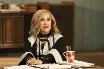 Catherine O'Hara frequently steals the show with her outrageous wigs, clothes, statements - and accent.