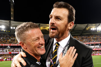 Richmond coach Damien Hardwick and CEO Brendon Gale.