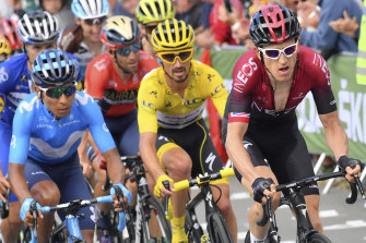 Nairo Quintana, left, rides alongside Julian Alaphilippe, centre, and Geraint Thomas, right, at the Tour de France last year.