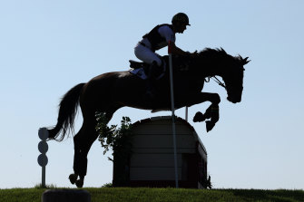 Rose riding Virgil clears a jump during the cross-country eventing on Saturday.
