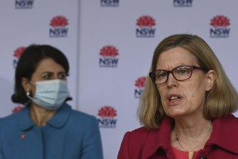 NSW Chief Health Officer Dr Kerry Chant, right, with Premier Gladys Berejiklian.