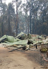 The ruin of Ms Harris-Brady's house in Kinglake, the day after Black Saturday.