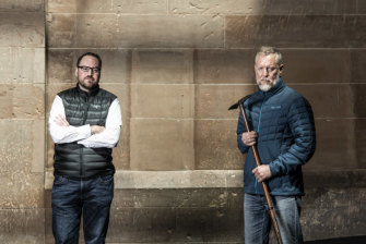 Polar explorer Geoff Wilson, right, is attempting to make the longest solo trip on foot and skis across Antarctica. He is being supported by Sam Horden, whose great-grandfather funded Sir Douglas Mawson's exploration more than 100 years ago.
