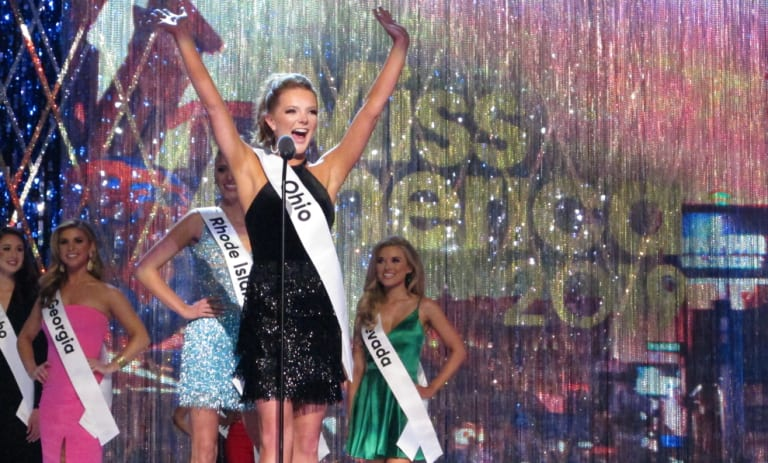 Miss Ohio Matti-Lynn Chrisman introduces herself during the Miss America competition in Atlantic City.