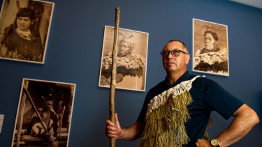 Moko artist Derek Lardelli attends the launch of <i>Māori Markings: Tā Moko</i> at the National Gallery of Australia.