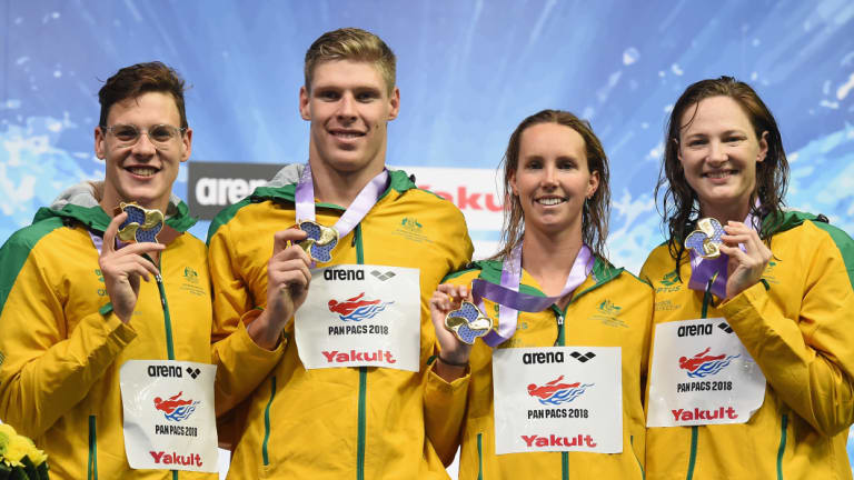 Mixed result: Australia medley relay winning team of (from left) Mitch Larkin, Jake Packard, Emma Mckeon and Cate Campbell.