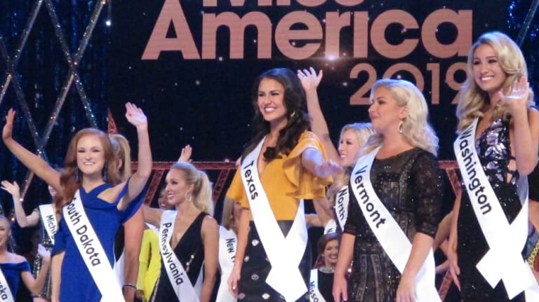 Contestants during introductions at the second night of the preliminary competition at Miss America in Atlantic City on Thursday.