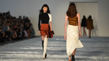 Mismatched shoes were on trend at Bec and Bridge at Fashion Week on Monday.