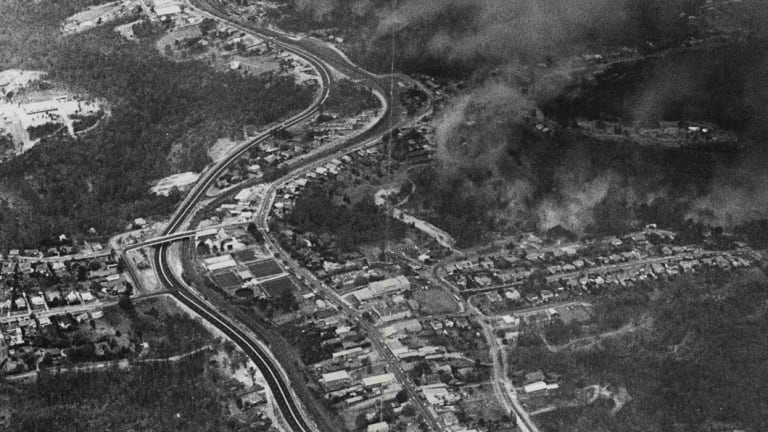 Springwood (looking back to Sydney) at the height of the fires, on November 28, 1968.
