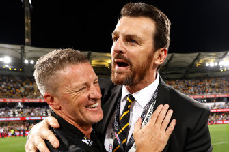 Richmond coach Damien Hardwick and ceo Brendon Gale