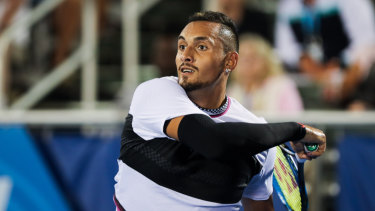 Standard: Nick Kyrgios has had a run-in with a linesman during his second-round loss in Florida.