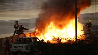 Romain Grosjean's fiery crash at the Bahrain Grand Prix.
