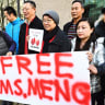 People support Meng Wanzhou, Huawei's chief financial officer on Monday outside a Vancouver courtroom.