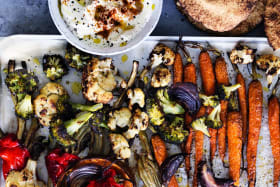 Adam Liaw's roast veg with flatbreads and whipped feta