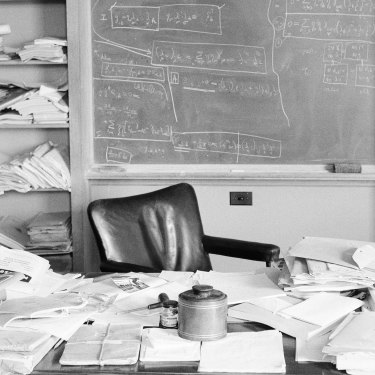 Albert Einstein's office three weeks before his death in April 1955.