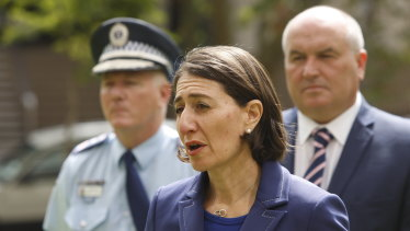 The Premier, Commissioner Fuller and Minister for Police and Emergency Services David Elliott during a press conference at the height of the pandemic.
