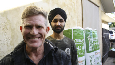 Stephen King and his offsider, volunteer Ramandeep Singh Virdi, who is studying a Masters in Community Development at Murdoch University.