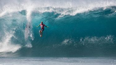 Australian surfer Josh Kerr wipes out at Pipeline in 2012.