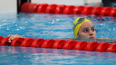 Kaylee McKeown after her 200m backstroke heat.