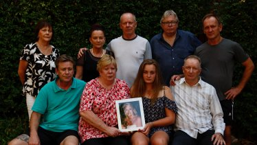 Tammy Peters' family want to tell her story. From left to right (front row) Ray Brennan, Sharon Piper, Bree Peters, Ray Brennan. (Back row) Jennifer Dixon, Kelly Brennan, Steve Brennan, Darrell Piper, Keith Brennan.