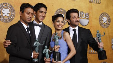 The cast of Slumdog Millionaire backstage at the 2009 Screen Actors Guild Awards. From left: Irrfan Khan, Dev Patel, Freida Pinto and Anil Kapoor.