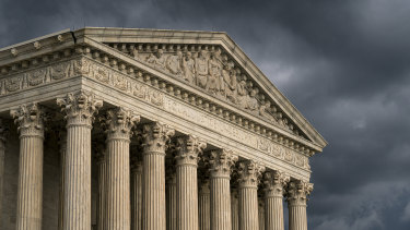 The US Supreme Court in Washington as a storm rolls in.