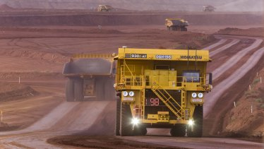 Autonomous trucks at Rio Tinto's West Angelas mine.
