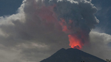 Mount Agung erupting in June.