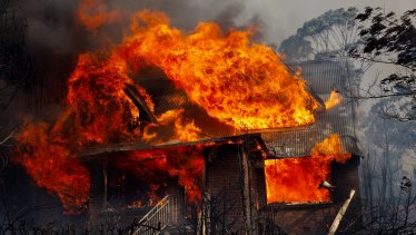The fire that tore through Dargan, west of Bell, in the Blue Mountains