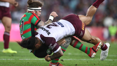 Key role: Ethan Lowe has been earmarked to tighten the Rabbitohs' right-edge defence.