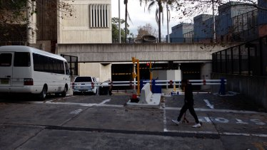 The entrance to the underground car park at the Sydney Police Centre.
