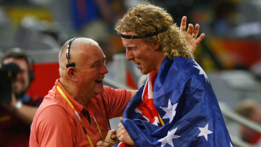 The late Maurie Plant, left, with Steve Hooker at the Beijing Games.