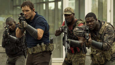 Chris Pratt, Edwin Hodge and Sam Richardson star in The Tomorrow War.