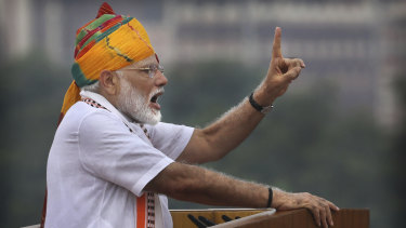 Indian Prime Minister Narendra Modi addresses the nation on the country's Independence Day.