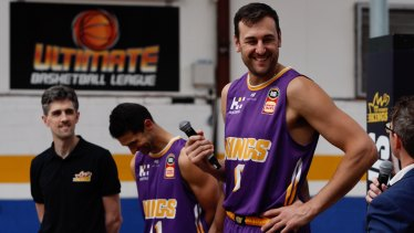 Andrew Bogut at the Sydney Kings season launch on Tuesday.