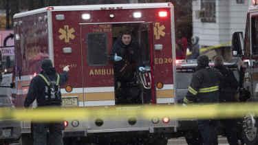 Milwaukee Police and Milwaukee Fire Dept. personnel on the scene of the shooting.