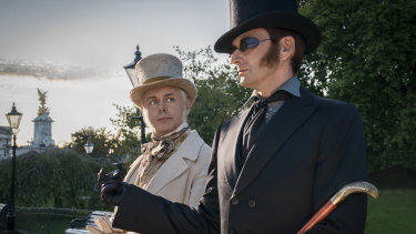 Michael Sheen and David Tennant star in the six-part adaptation of Good Omens, the 1990 novel by Terry Pratchett and Neil Gaiman.