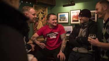 Members of Generation Identity, a far-right youth group, at their headquarters in Halle.