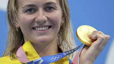 Ariarne Titmus and her 200m gold medal.  The Olympic winner has deleted every social media app off her phone.