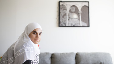 Elementary school teacher Maha Kassef at her parents' home in Montreal.