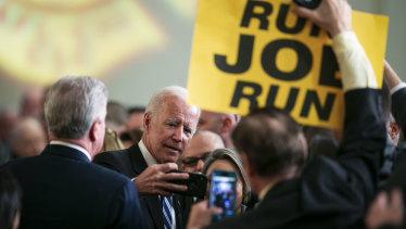 'Run Joe Run': former vice president Joe Biden addresses firefighters.