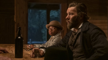 Chase Dillon as Homer and Joel Edgerton as Ridgeway in The Underground Railroad.