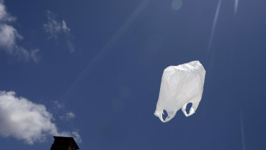Plastic bag flying in the breeze.