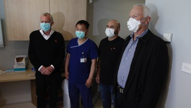 Professor Henry Woo with three of the four men who underwent the iTIND procedure in September at Sydney Adventist Hospital.