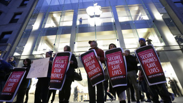 Protesters outside an Apple store in Boston in 2016 after the FBI obtained a court order requiring Apple to make it easier to unlock the encrypted iPhone of the gunman in the San Bernardino mass shooting.