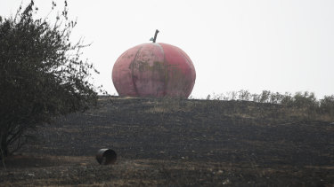 Batlow's iconic Big Apple in a scorched field after the bushfire.