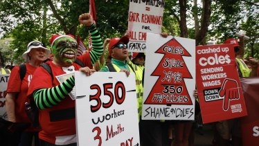 Workers protested the Coles lockout in Sydney's CBD in December.